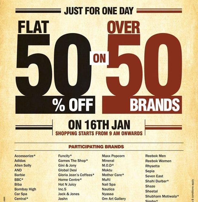 50-50% on Oberoi mall 16th Jan ,2013