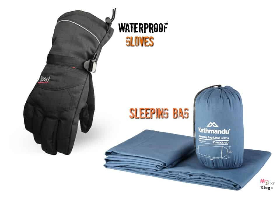 sleeping-bag-and-waterproof-gloves