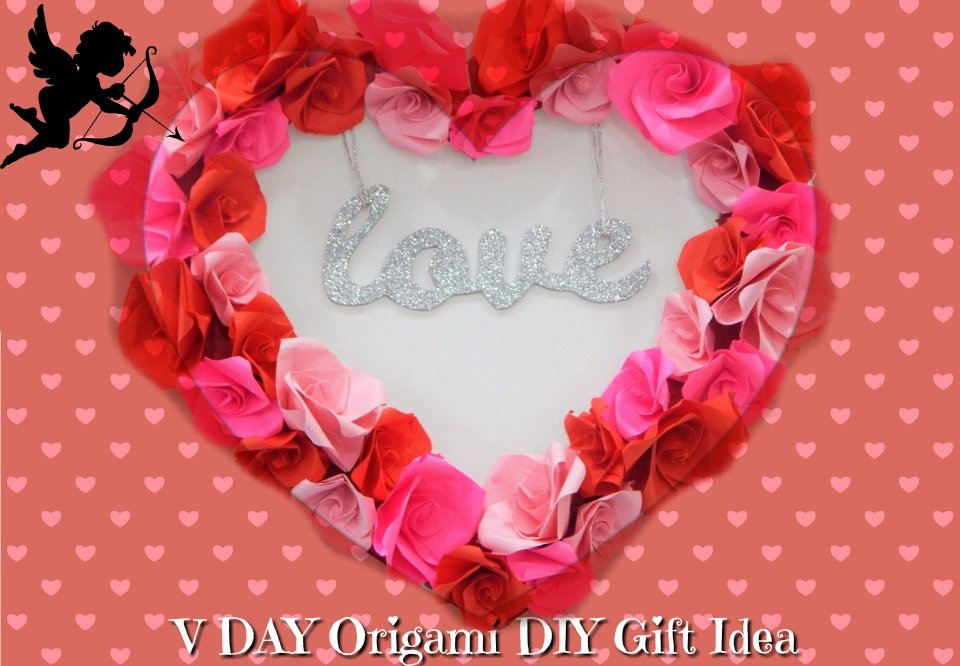 Valentines Day Gift Idea – DIY Origami Flower Heart Mobile