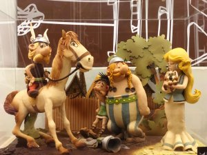 Asterix and Obelix created with chocolate- Chocolate museum Barcelona